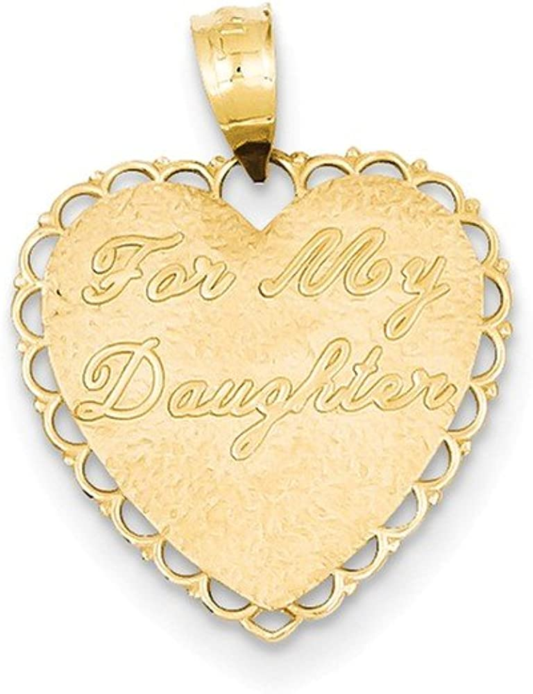 14k Yellow Gold Reversible For My Daughter Heart Pendant