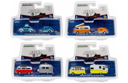 Greenlight Volkswagen Hitch And Tow V-Dub Exclusive 1/64 Scale Diecast Model 4-Car Assortment (Diecast Model Late)