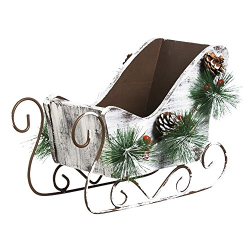 Cypress Home Wooden Berry Sleigh Holiday - Wooden Sleigh