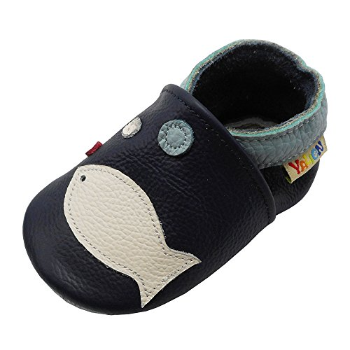 Yalion Soft Sole Leather Baby Shoes First Walking Pre-Walker Moccasins Infant Toddler First Shoes with Lovely Fish(APPR.12-18 Months,Navy Blue)