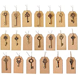 SL crafts Mixed 100pcs Skeleton Keys & 100 pcs Kraft Tags Antiqued Brass Bronze Charms Pendants Wedding Favor 34mm-68mm