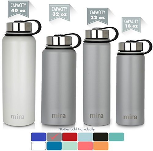 MIRA 22 Oz Stainless Steel Vacuum Insulated Wide Mouth Water Bottle with 2 Caps | Thermos Keeps Cold for 24 hours, Hot for 12 hours | Double Walled Powder Coated Travel Flask | Gray