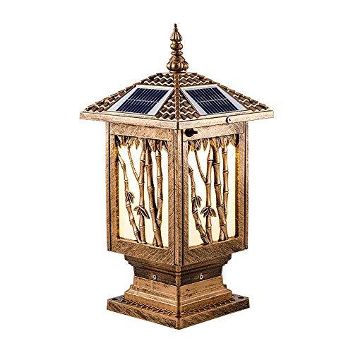 (ZLHW Solar Energy Column Headlight Light Wai Wall Light Outdoor Super Bright Waterproof Big Door Post Light Garden Light Household Solar Light Pillar Lamp Bamboo Festival)