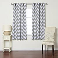 Best Home Fashion Room Darkening Chevron Print Curtains - Antique Bronze Grommet Top - Grey- 52W X 63L - (1 Panel)