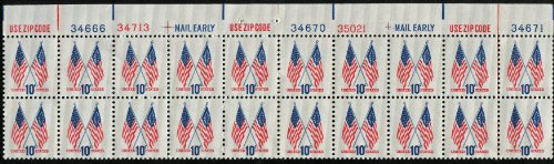 1973 CROSSED FLAGS ~ THE 50-STAR & 13-STAR FLAGS #1509 Plate Block of 20 x 10 cents US Postage Stamps