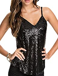 Women's Spaghetti Strap V-Neck Sequin Top