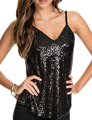 ASMAX HaoDuoYi Women's Sparkly Sequin V Neck Spaghetti Strap Sweet Party Top Shirt Black