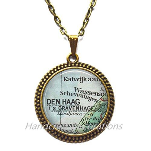 Charming Necklace The Hague map Pendant, The Hague Necklace Den Haag Pendant, Netherlands map Pendant, Hague Pendant,A0025 -