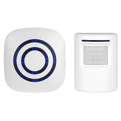 RENNICOCO Timbre inalámbrico Sensor de Movimiento Inducción Impermeable Alarma Timbre Bienvenido Tienda Banco Timbre