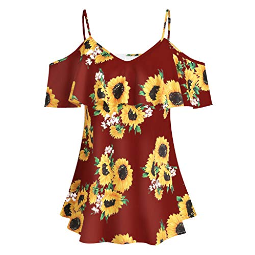 Sunhusing Large Size Ladies Sexy Suspender Sunflower Print Ruffled Off-Shoulder Short-Sleeve Blouse Camis Tops Red]()