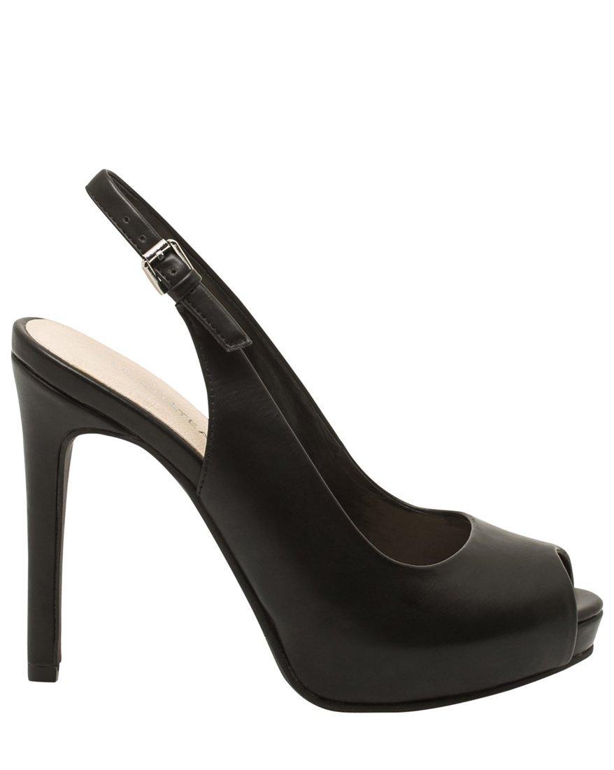 LE CHÂTEAU Women's Peep Toe Platform Slingback Pump,7,Black