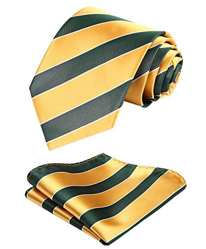 HISDERN College Striped Tie Woven Classic Mens Necktie & Pocket Square Set