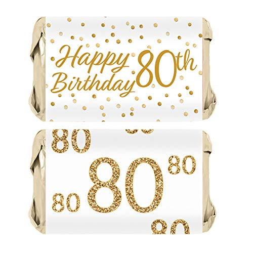 80th Birthday Party Miniatures Candy Bar Wrapper Stickers - White and Gold | 45 Count