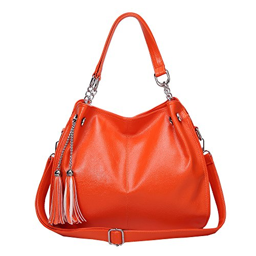 Caistore Women PU Leather Purse Hobo Satchel Stylish Handbag Top Handle Tote Bag Shoulder Orange
