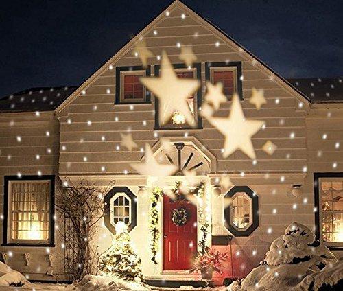 LUCKY CLOVER-A Navidad blanco copos de nieve estrella proyector impermeable giratorio LED paisaje lámpara exterior irradiación escenario casa de vacaciones ...