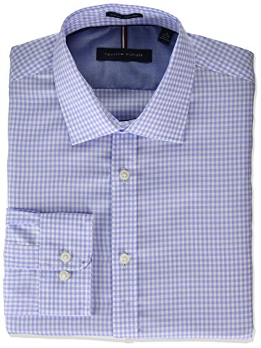 Tommy Hilfiger Men's Dress Shirt Non Iron Slim Fit Check, French Blue, 16.5