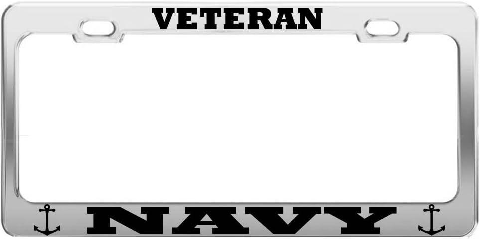 VETERAN US NAVY METAL MILITARY License Plate Frame Tag Holder