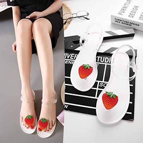 Cherry Candy Shoes Cherry white Summer Jelly Beach Sweet Summer JUWOJIA Strawberry Shoes Sandals Crystal Fruit Beach q7TBxSgwES