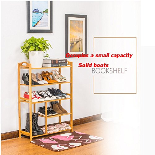 Bamboo shoe rack,100% solid wood ,Flower stand, Bookshelf,Function assemble,Entryway shelf Stand shelves Stackable Entryway bedroom-D 50x25x87cm(20x10x34inch) by franchise house (Image #4)'