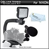 Deluxe LED Video Light + Mini Zoom Shotgun Microphone w/Mount + Video Stabilizer Kit For Nikon Df, D7200 D750 D5200 D5300 D3300, D600 D610 D5100 D7000 D7100 D700 D90 D800E D810 D700 Nikon 1 J1, 1 V1