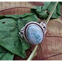 Natural Larimar Ring, Sterling Silver Ring, Boho Ring, Ocean Blue Ring, Dominican Larimar Oval Ring, Statement Ring, Healing Crystal, Women Ring, Birthday Gift Jewelry, Promise Ring, Engagement Gift