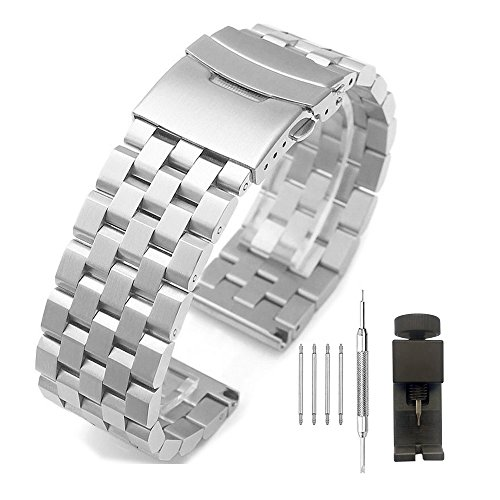 26mm Brushed Stainless Steel Watch Band Strap Bracelet with Double Locks Clasp Push Button Buckle,Silver