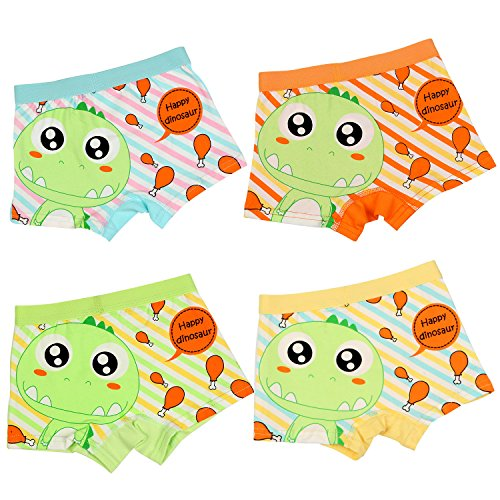 BOOPH Little Boys Underwear, Cotton Dinosaur Baby Toddler Boxer Briefs Underpant for Boy 4-6 Years (Pack of 4) by BOOPH (Image #2)'