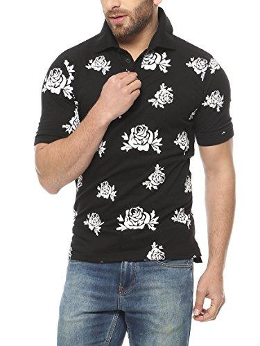 Gritstones Black Half Sleeve Band Collar T-Shirt