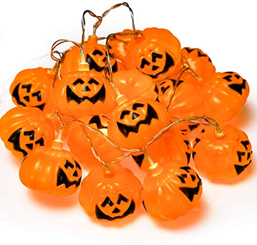 GiBot Halloween Pumpkin Lights Lanterns, 20 LED 6.9 feet Battery Powered Pumpkin String Lights 3D Jack o Lantern Halloween Pumpkin Lights Decor for Indoor Outdoor Party Ideas, Orange