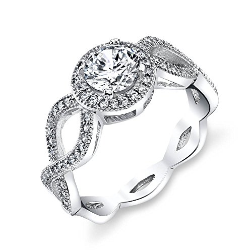 Serpentine Sterling Silver Ring (925 Sterling Silver bridal engagement ring jewelry set with simulated diamond cubic zirconias SOE031 traditional classic serpentine shank)