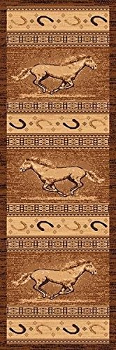 2X7 Runner Country Theme Horses Horseshoe Brown Tan Rug by Persian Rugs