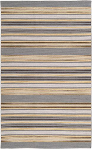 Woven Rug Mustard (2' x 3' Jalur Gray, Mustard and Old Gold Hand Woven Wool Area Throw Rug)