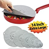 """Silicone Suction Lids Airtight Seal Set, Easy to Apply and Remove Food Covers - Microwave/Oven Safe, Easy Food Storage, Splatter Protection, 6 sizes (4"""" 6"""" 8"""" 10"""" 12"""" 14"""") for Cups, Bowls, Pans, Pots"""