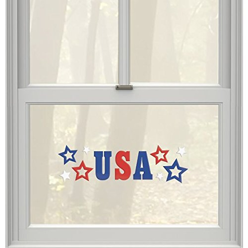 Amscan Patriotic Fourth of July Party USA Stars Gel Cling Window Decoration, Rubber, 19'' x 6''
