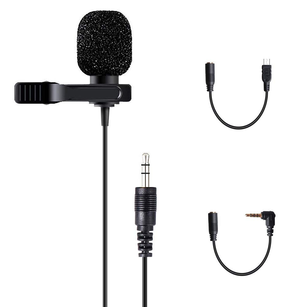 Lavalier Lapel Microphone Condenser Omnidirectional Hands free Mic for iPhone, iPad, Go Pro, DSLR, Camcorder, Zoom/Tascam Recorder, PC, Macbook, Samsung Android, Smartphones