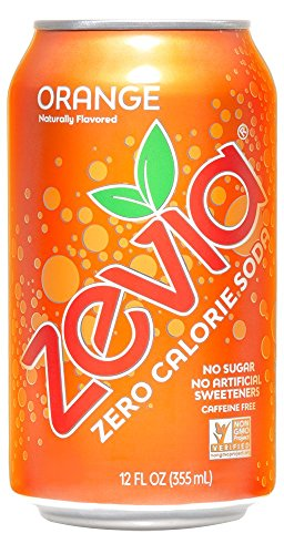 Zevia Zero Calorie Soda, Orange, Naturally Sweetened Soda, (24) 12 Ounce Cans; Orange-flavored Carbonated Soda; Refreshing, Full of Flavor, and Delicious Natural Sweetness with No Sugar