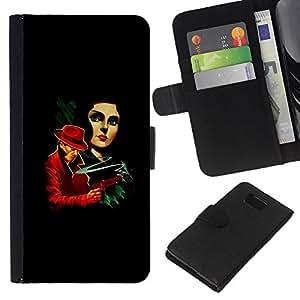 LECELL--Cuero de la tarjeta la carpeta del tirón Smartphone Slots Protección Holder For Samsung ALPHA G850 -- La vendimia crimen Posters --