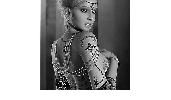 Amazon Com Fashion Large Temporary Tattoos Cross Necklace