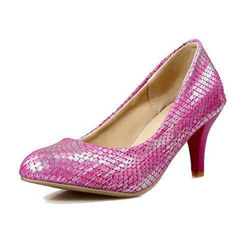 VogueZone009 Damen Spitz Zehe Ziehen auf PU Leder Rein Mittler Absatz Pumps Schuhe Rosa
