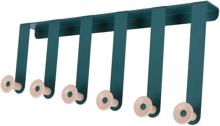 Green Over Door Hanger with 6 Hooks No Drill Storage Racks Towel Rack for Bathroom Storage Closet Door Hook Clothes Organizer for Tidy Rooms and Saves Space