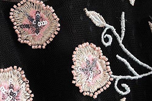 con in floreale ricamate pizzo con Picture fiori motivo Color a Abito lunghe nero maniche maniche a qwcfOwS8P