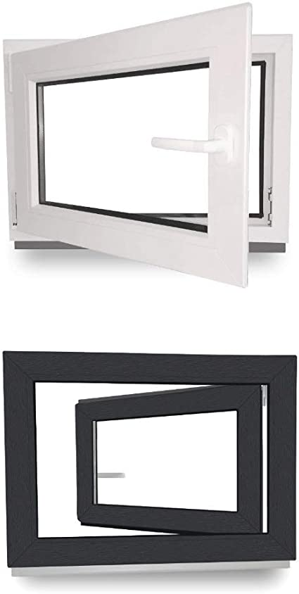 Kellerfenster Kunststofffenster Fenster Breite: 50 cm x H/öhe: Alle Gr/ö/ßen Premium BxH: 50x75 cm DIN Links 3-fach-Verglasung Dreh-Kipp-Funktion Wei/ß