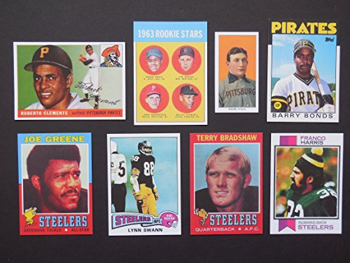 1993 Barry Bonds (Pittsburgh Heros and Hall of Famers (8) Card Rookie Reprint Lot w/ Original Backs****Honus Wagner, Roberto Clemente, Willie Stargell, Barry Bonds, Joe Greene, Terry Bradshaw, Franci Harris, Lynn Swann** (Pirates) (Steelers) )