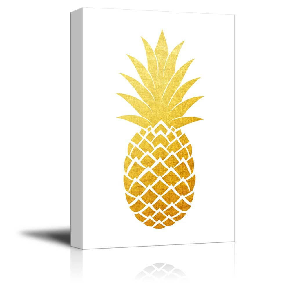 wall26 - Canvas Wall Art - Gold Glitter Pineapple on White