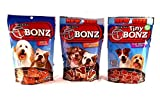 Purina T-Bonz Steak Shaped Dog Treats 3 Flavor Variety Bundle: (1) Purina TBonz Porterhouse Flavor, (1) Purina TBonz Ribeye Flavor, and (1) Tiny TBonz Filet Mignon Flavor, 4.5 Ounces Each (3 Bags Total) For Sale
