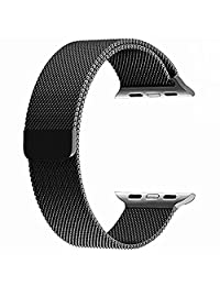 top4cus for Apple Watch Band, Milanese Loop Stainless Steel Bracelet Strap Replacement Wrist iWatch Band with Magnet Lock for Apple Watch (42mm Watch, Black a)