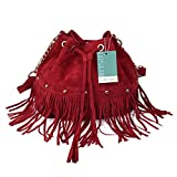 LUI-SUI-Womens-Fringed-Bucket-Purse-Tassel-Faux-Suede-Shoulder-Bag-Bohemian-Rivet-Drawstring-Handbag