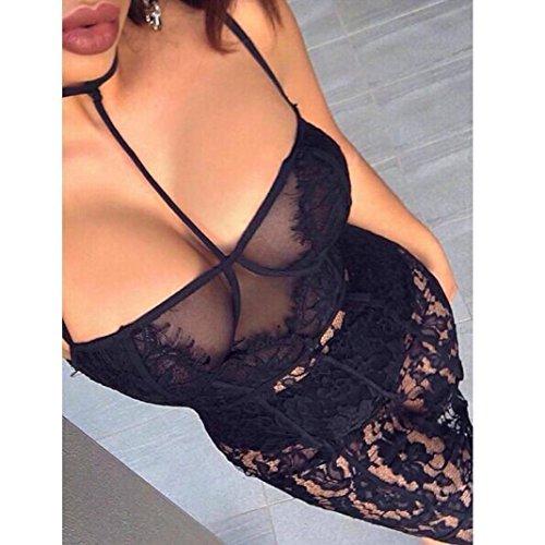 Kleid + Unterwäsche-Set,Mode Frauen Spitzenkleid Perspektive Versuchung Minikleid + Unterhose für Nachtclub, Abendgesellschaft, Nachtwäsche Von Jaminy Schwarz