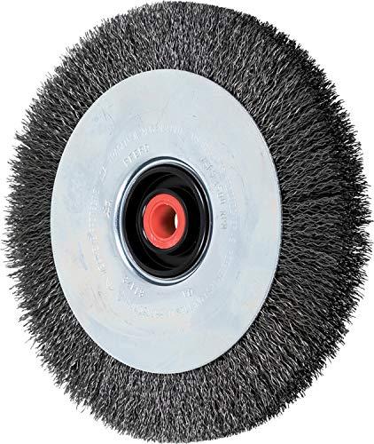 PFERD 81478 Ezmount Crimped Wheel Brush, Carbon Steel Wire, 8'' Diameter, 2, 1, 3/4, 5/8'' Arbor Hole, 0.014 Wire Size, 1-3/16'' Trim Length, 7/8'' Face Width, 4500 Maximum RPM