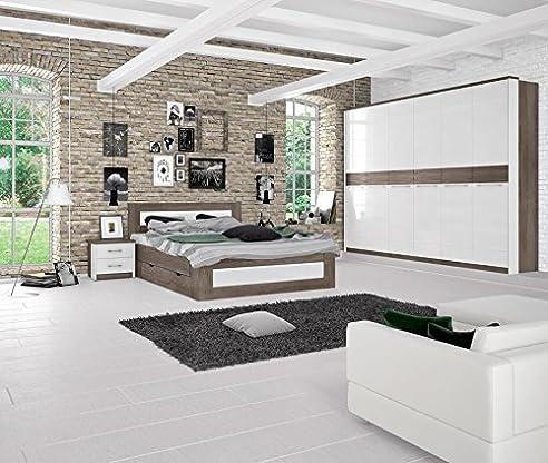 schlafzimmer komplett set i lepa 5 teilig farbe eiche dunkelbraun - Schlafzimmer Dunkelbraun